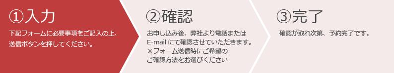 お申込み方法: 1.入力 → 2.確認 → 3.完了